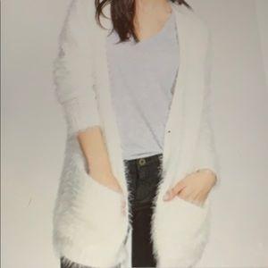 Hinge Ivory Fuzzy Soft Cardigan Sweater Size S